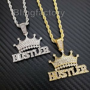 "Crowned HUSTLER Pendant & 24"" Rope Chain Necklace"